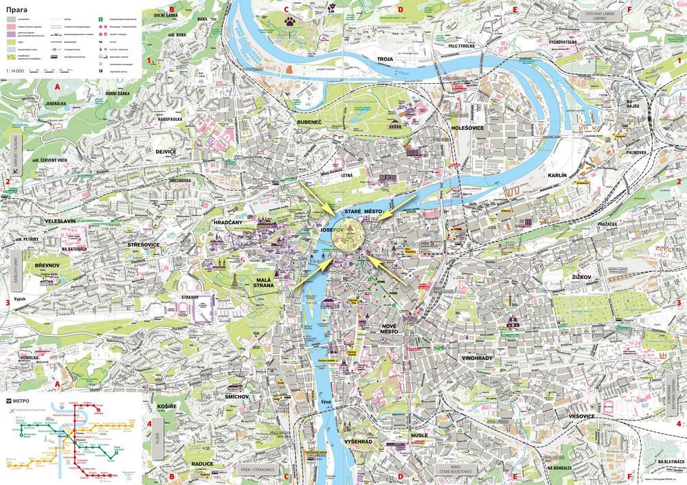Еврейский квартал на карте Праги