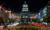 Вацлавская площадь в Праге ночью