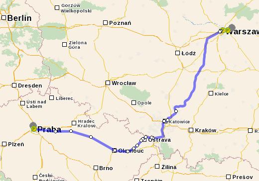 Расстояние Варшава – Прага на поезде