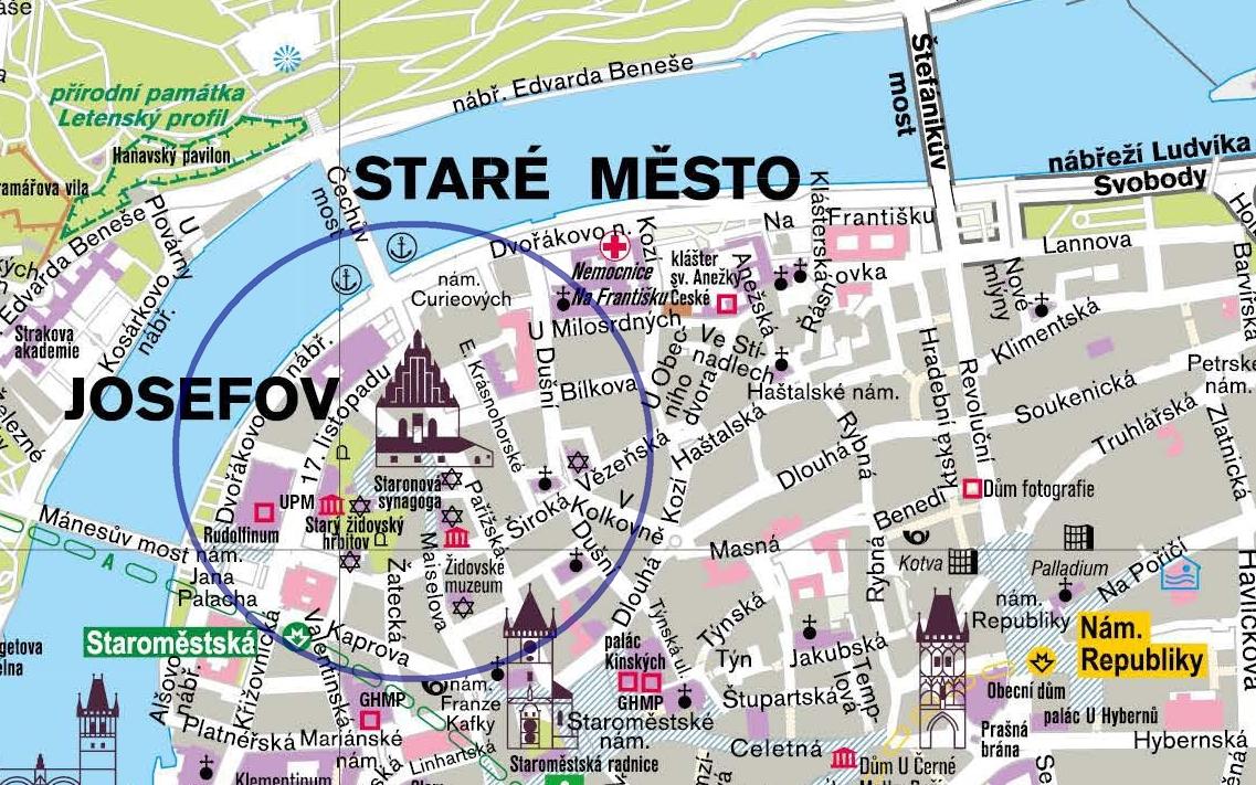 Достопримечательности еврейского квартала в Праге на карте