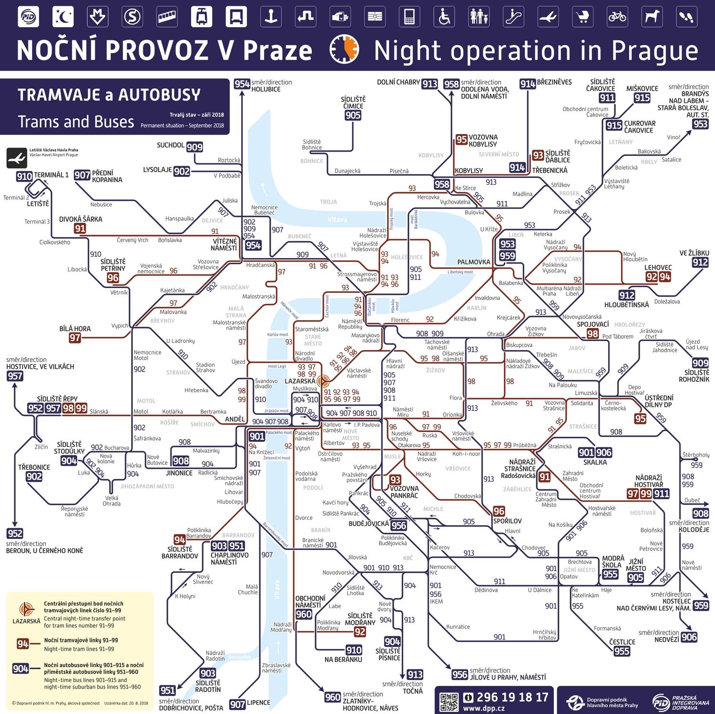 Схема ночных маршрутов Праги