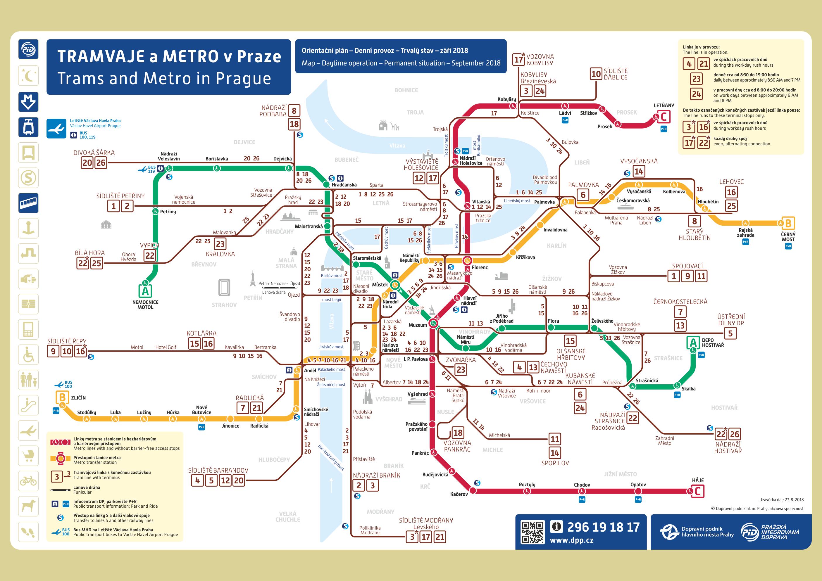 Схема трамваев и метро в Праге