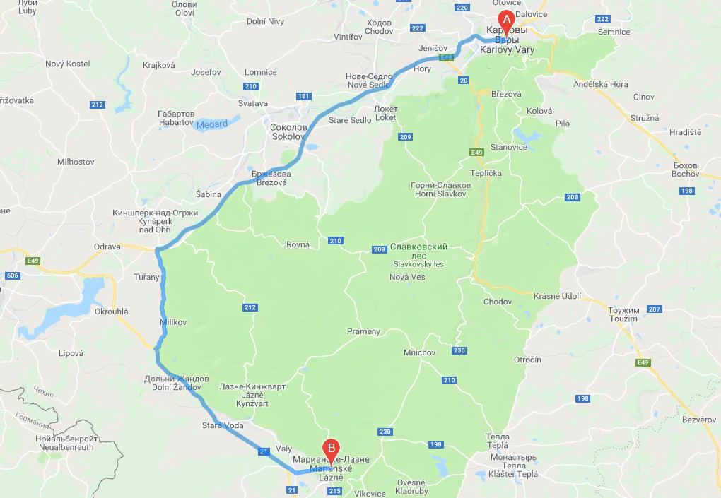 Расстояние Карловы Вары – Марианские Лазни