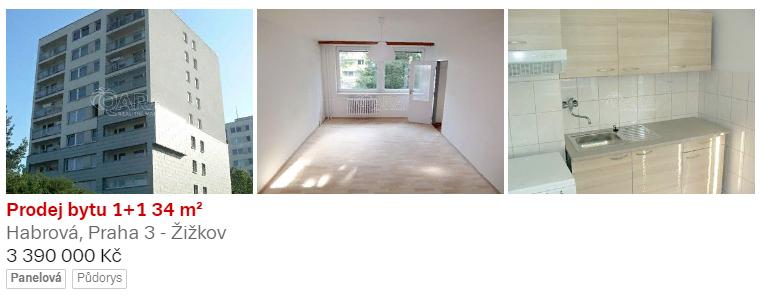 1-комнатная квартира 34 м2, район Прага 3, стоимость 3,4 млн. крон