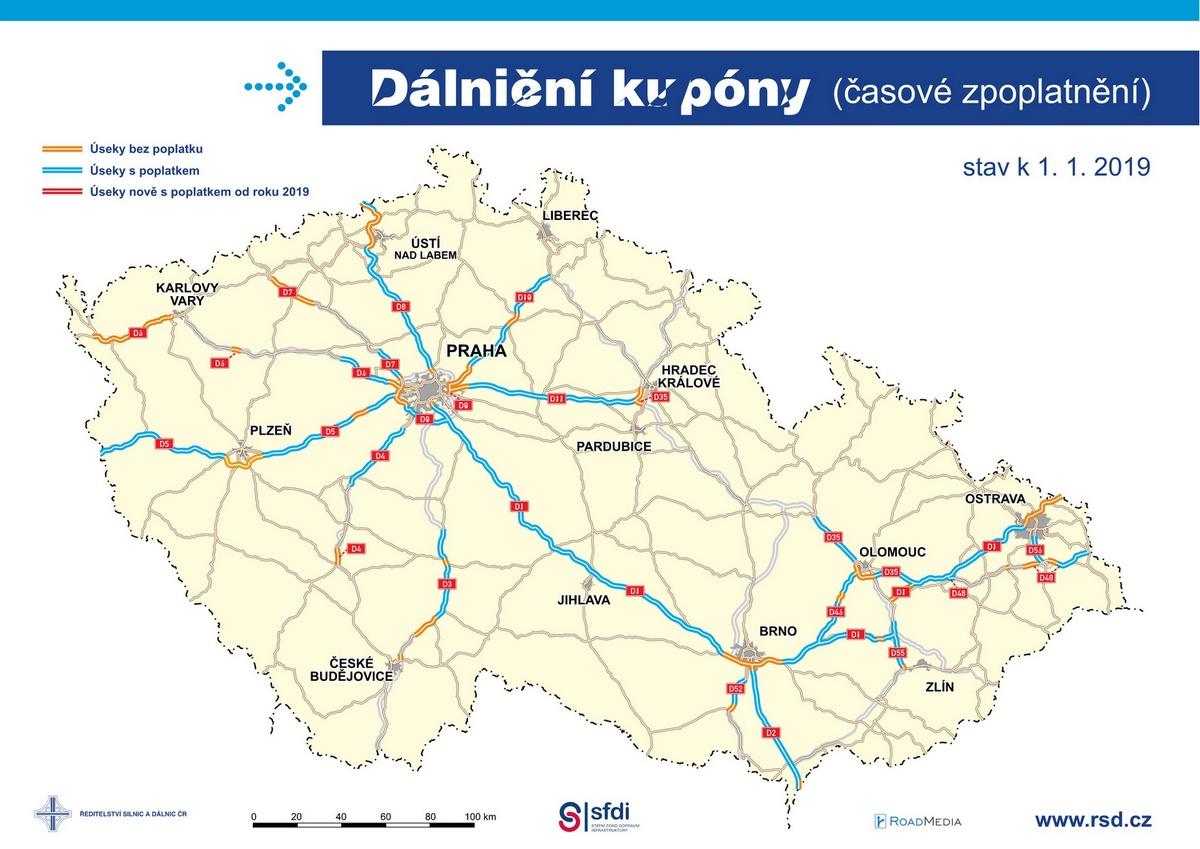 Карта платных дорог в Чехии 2020