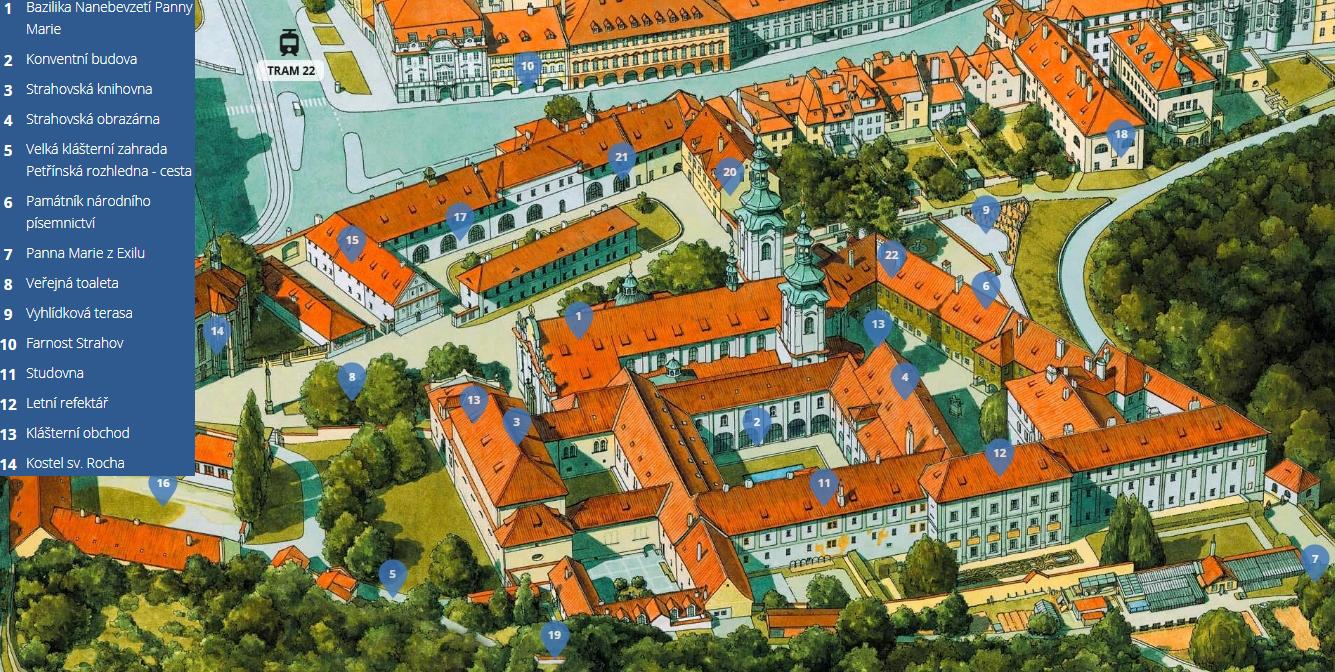 Карта Страговского монастыря с достопримечательностями