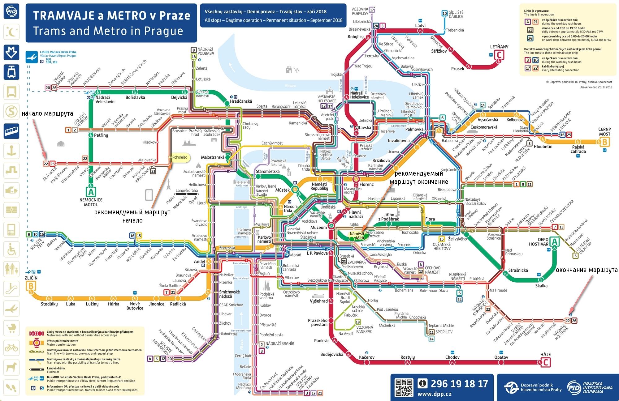 Маршрут трамвая 22 на карте Праги