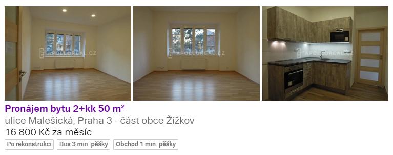 Двухкомнатная квартира студия в районе Прага-3, 16800 крон/мес