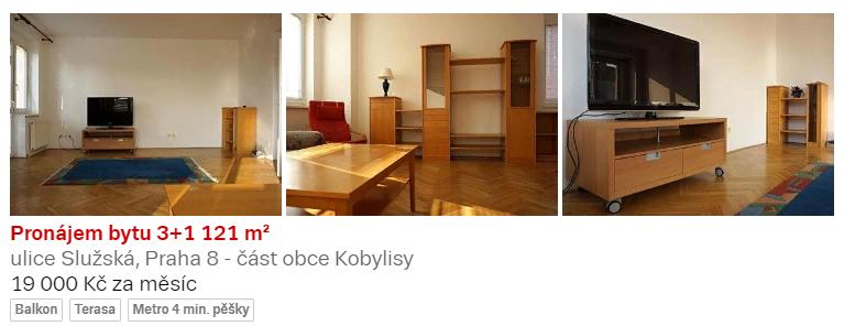 Трехкомнатная квартира с отдельной кухней в районе Прага-8, 19000 крон/мес