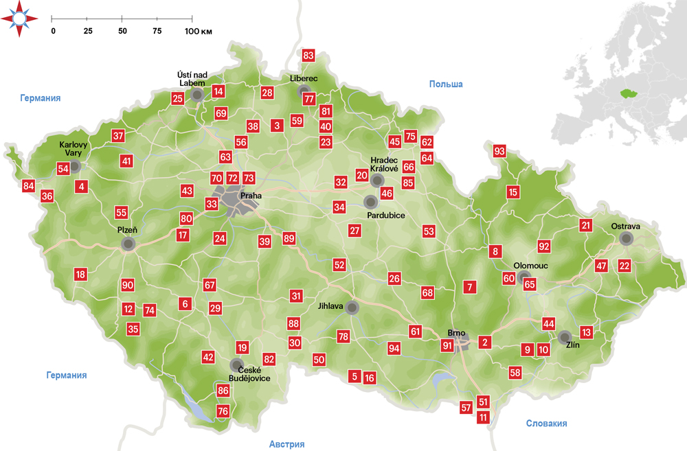 Замки Чехии на карте