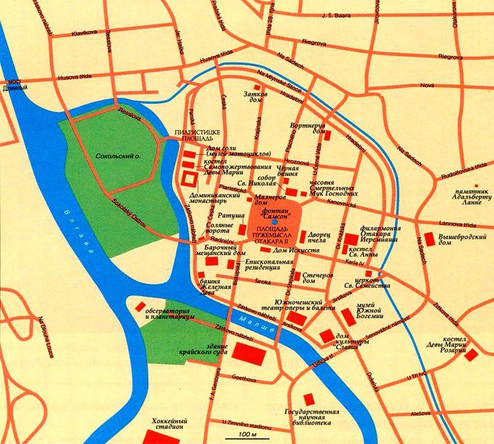 Карта Ческе-Будеёвице с достопримечательностями на русском языке