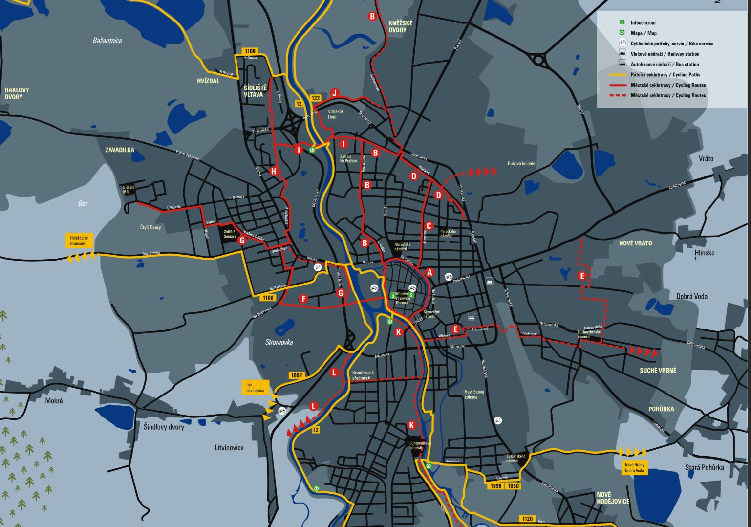 Ческе-Будеёвице: карта велосипедных маршрутов