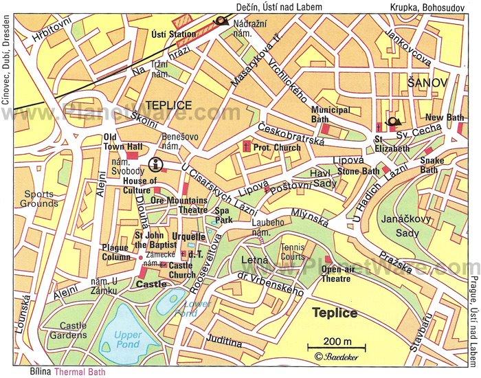 Карта города Теплице, Чехия