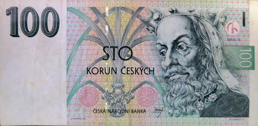 100 чешских крон с изображением Карла IV